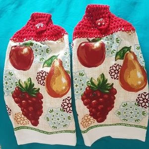 kitchen towels decorated with crochet